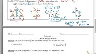 8-4 Concept Guide: Special Right Triangles