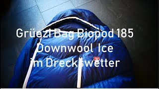 Daunen Woll Schlafsack Grüezi Bag Biopod 185 Downwool Ice im Dreckswetter