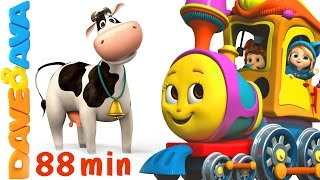 🐏 Farm Animals Train | Learn Farm Animals & Animal Sounds | Educational Videos From Dave And Ava 🐏