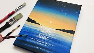 Acrylic Painting   Sunset Landscape Painting   Acrylic Painting Easy Step By Step