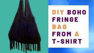 How To Make A Boho Shoulder Bag | Upcycle T Shirts For A DIY Purse Or Tote Bag No Sew