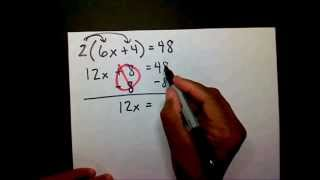 Solving Two-Step  Equations W/ Distributive Property - MathwithMoon.org
