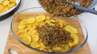وجبة عائلية بالبطاطس واللحم المفروم، سهلة وسريعة التحضير