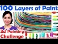 Top art challenge : 100 LAYERS OF PAINT 3d painting | Unboxing gold play button!