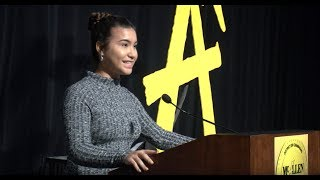 McTalks -  McAllen ISD student Amaris Cazares speaks at this year's MISD General Assembly