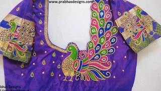 Latest Aari Embroidery Peacock Back Blouse Designs Collections