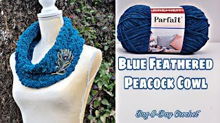 How To Crochet An Easy Cowl Scarf | Blue Feathered Peacock | Bag-O-Day Crochet Tutorial #555