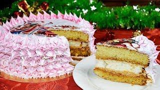 Бисквитный торт ИНЕЙ с безе и вареной сгущенкой. Новогодний торт
