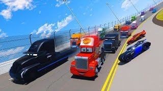 Race Trucks Daytona Truck Mack Gale Beaufort Jerry Lightning McQueen Jackson Storm Cars And Friends