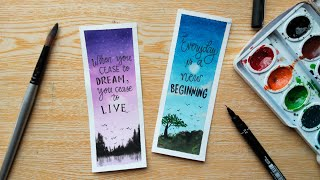 DIY Watercolor Bookmarks with Inspirational Quotes