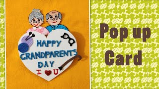 Grandparents day card tutorial/pop up card/Happy Grandparents day handmade card