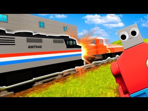 Head On Lego Train Crash In Brick Rigs! (Brick Rigs Gameplay Funny Moments)