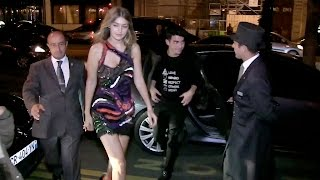 Братья Джонас, EXCLUSIVE - Gigi Hadid and Joe Jonas enter the Royal Monceau hotel in Paris