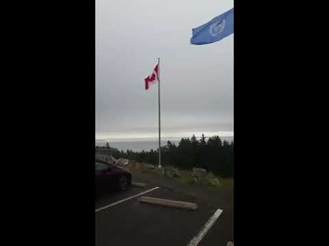 UN Flag Flying Above the Canadian Flag in National Park