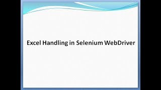 How to handle excel in Selenium WebDriver using Apache Poi