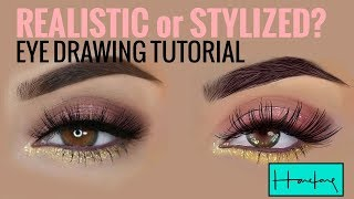 Full narrated Procreate realistic vs stylised eye drawing tutorial by Haze Long.