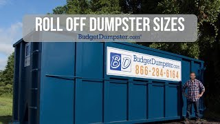 roll off dumpster with the budget dumpster logo on it