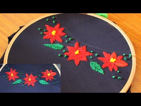 Simple Saree Border Design/Neckline Embroidery Design/Poinsettia Flowers Design/Kurti/Churidar/Gowns