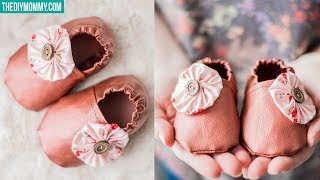 HOW TO SEW FAUX LEATHER BABY SLIPPERS | Free Baby Booties Pattern & Tutorial