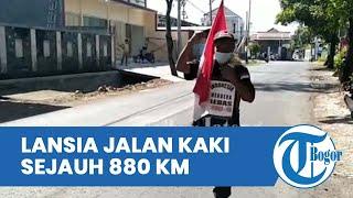 Jalan Kaki 880 Kilometer, Lansia Ini Bawa Pesan Berisi Harapan Covid-19 Musnah saat Hari Kemerdekaan