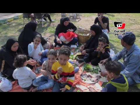 إقبال المواطنين على الحدائق بالمنصورة لقضاء شم النسيم