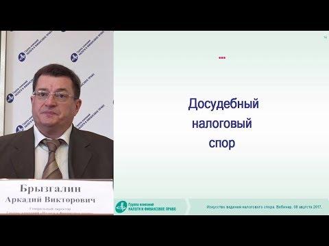 Фрагмент вебинара А.В. Брызгалина «Искусство ведения налогового спора»