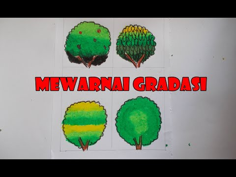 Cara Menggambar Dan Mewarnai Gradasi Pohon Dengan Crayon Oilpastel