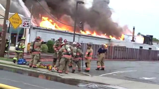 FLEMINGTON NEW JERSEY 4TH ALARM WORKING FIRE 5/4/17 HEAVY FIRE IN A DRY CLEANING STORE