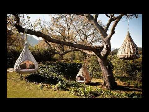 Diseño de  jardines con sillones colgantes