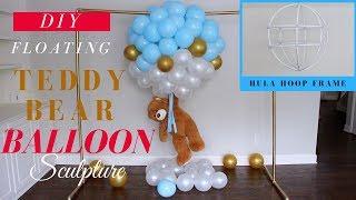 Floating Teddy Bear With Balloons | Dollar Tree Baby Shower Decorr Idea