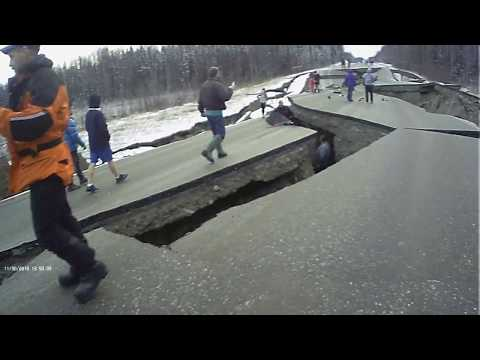 My hometown in Alaska was hit with a 7.0 earthquake today, Here's some of the damage to our roads.