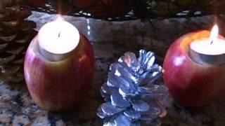 Украшаю дом к праздникам, подсвечники из яблок