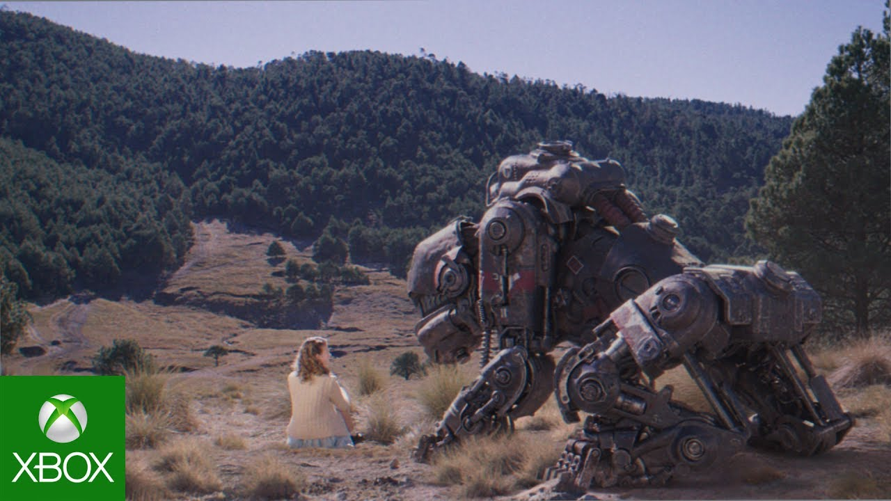 Large robot dog and girl in a country scene