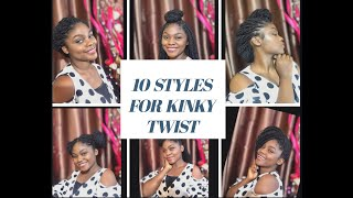 10 WAYS TO STYLE  KINKY TWISTS/BRAIDS. No Hair Clips, No Hair Bands.