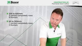 Construction of a short radius flat bend with basket trays Basorfil