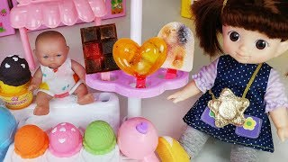 Fruit Ice Cream and baby doll kitchen play toys drinks mart play - ToyMong TV 토이몽