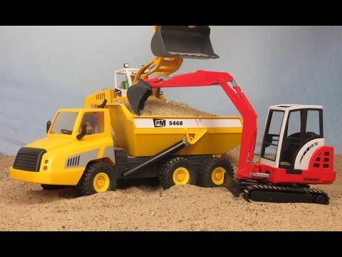 Bagger & Lastwagen Kinderfilm deutsch auf der Bruder Spielwaren / Playmobil Baustelle
