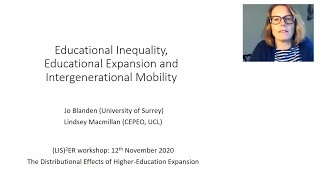 Presentation on: Educational Inequality, Educational Expansion and Intergenerational Mobility
