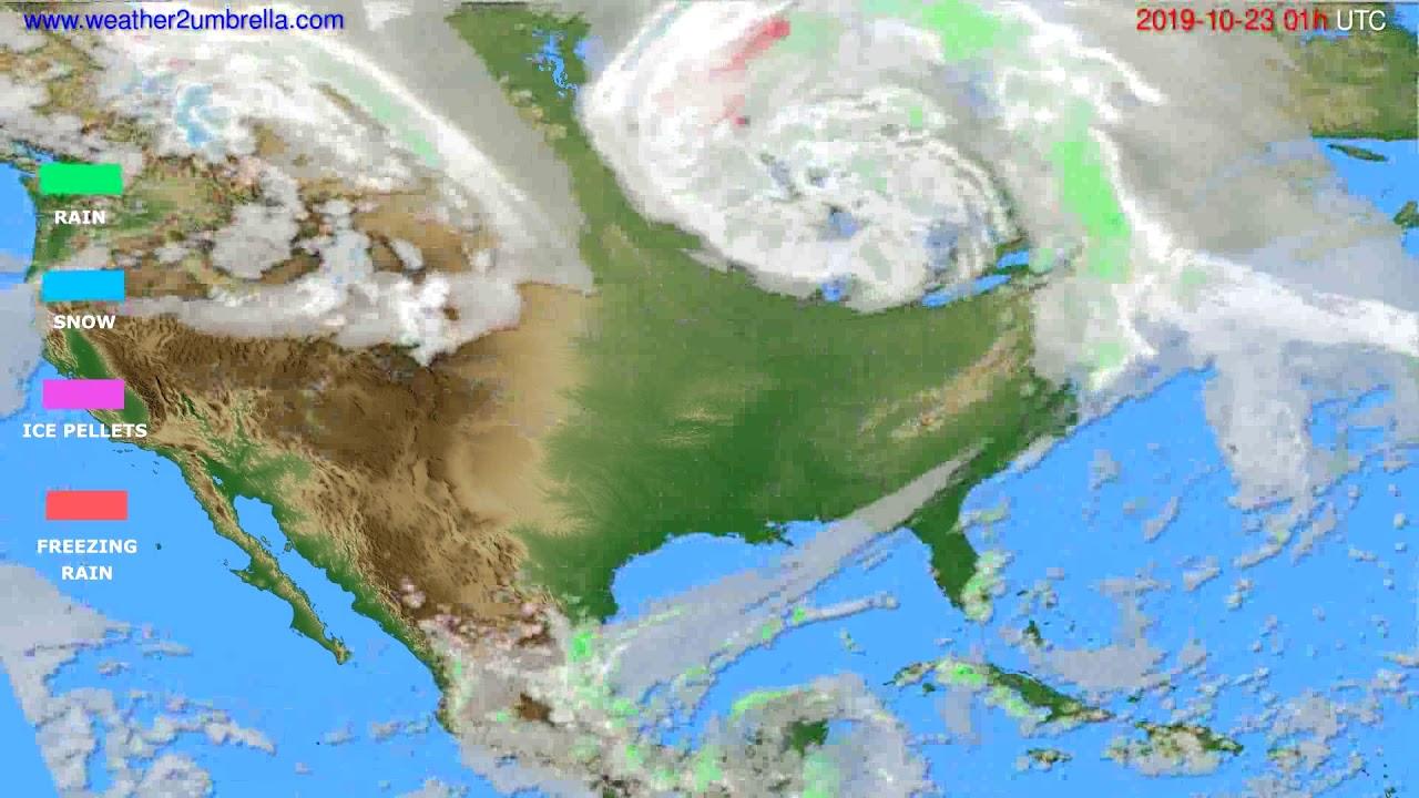 Precipitation forecast USA & Canada // modelrun: 12h UTC 2019-10-21