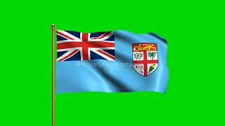 Fiji National Flag | World Countries Flag Series | Green Screen Flag | Royalty Free Footages