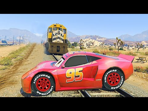 GTA V - How To Destroy LIGHTNING MCQUEEN In Trouble (GTA 5 Disney Cars Mods)