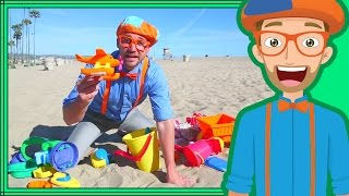 Blippi on the Beach with Sand Toys | Learning Colors for Children - Video Youtube
