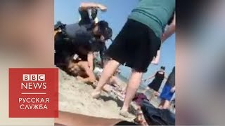 Полицейский ударил девушку на пляже в США