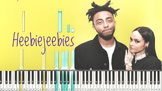 Animé - Heebiejeebies Ft. Kehlani [#reggiewatkins piano synthesia tutorial]