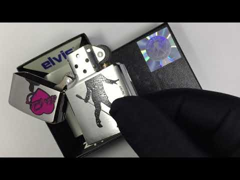 24785 Зажигалка Zippo Heart Elvis Presley, Brushed Chrome