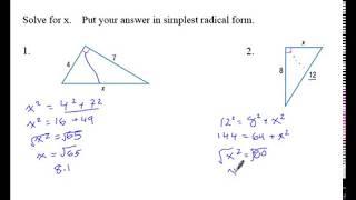 Geometry Unit 7 Section 1 Pythagorean Theorem