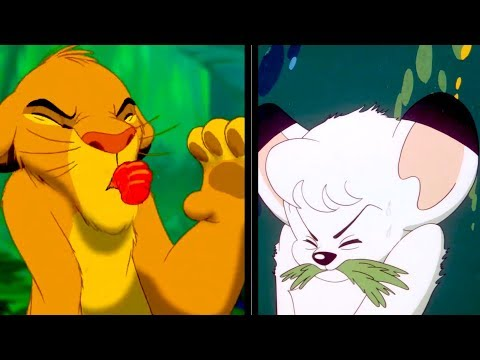 "Side-by-side comparison between Disney's ""The Lion King"" (1994) and the Japanese series ""Kimba the White Lion"" (1965)"