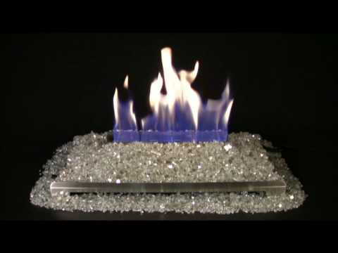 Alterna Platinum FireGlitter Set for See-through Fireplaces - Vent-Free Stainless steel Chassis Burner