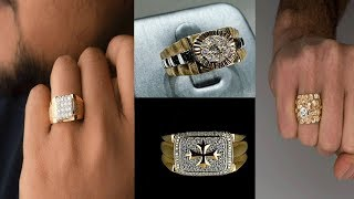 Gold With Diamond Ring Designs  For Men||Engagement Finger Ring For Men||Gold With Diamond Ring