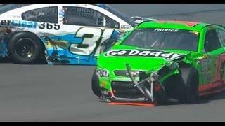 NASCAR Danica Patrick, Travis Kvapil, and Jeff Burton Crash | Pocono (2013)